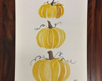 Watercolor Painting - Pumpkins
