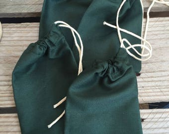 "4""x6"" Cotton twill Single Drawstring Muslin Bags (Green color)"