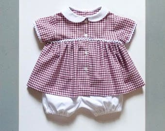 Baby girl bloomer and gingham blouse/shirt