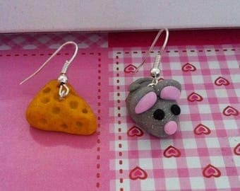 Earrings, mouse and cheese