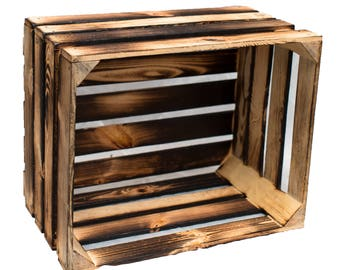 New Obstkiste box of wooden crate flamed shabby 50 cm set of 3 vintage stable