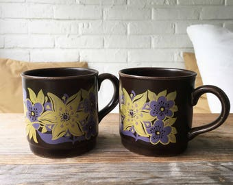 Retro Vintage set of two brown mugs with purple yellow flowers