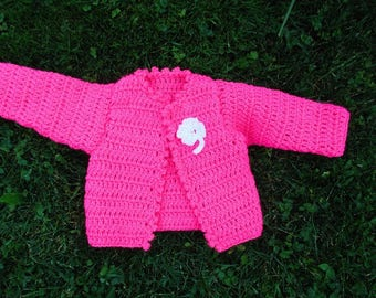crocheted pink 3-6 months wool baby Cardigan