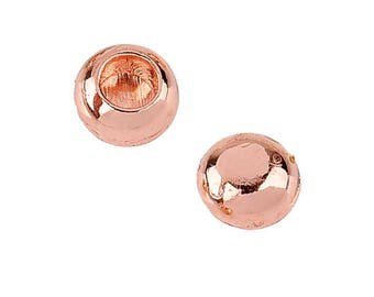 End caps 6 mm rose gold metal balls