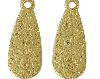 Pendant x 10 drops textured golden metal