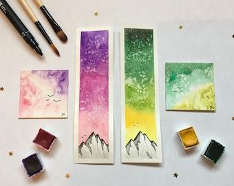 ORIGINAL Watercolour bookmark, mini painting set. Mountain landscape, nature, gift, birds