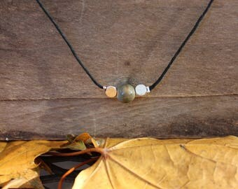 Women's Choker Necklace - Stone - Silver Plated