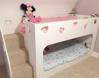 Children's Theme Bunk Beds - with safety stairs to the left - Hand Made in Warwickshire