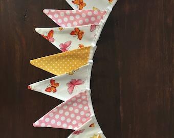 Fabric Bunting: beautiful butterflies - birthday - nursery -shower