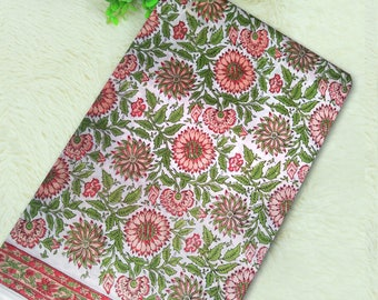 Pink Green Floral Hand Block Printed Cotton Fabric with Printed Border White Color Base Flower Design Hand Block Print Cotton Fabric