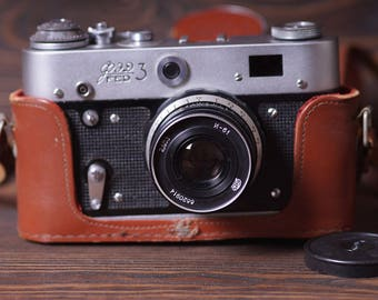 Vintage Soviet Film Camera FED 3. USSR the 1980s. Russian Camera. Retro USSR Camera. Old Russian Fed 3 Camera