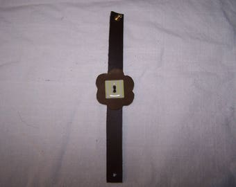 Brown leather strap and light green, accessory fashion trend