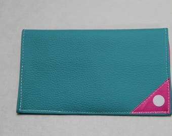 Faux turquoise leather checkbook