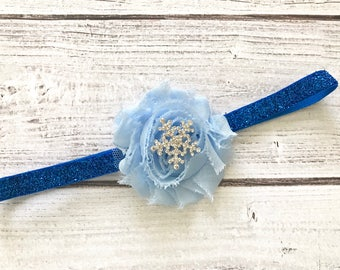 Holiday Winter  Hair Band Headband Girls Snowflake Headband Hairclip Accessories Photo Prop Blue and White
