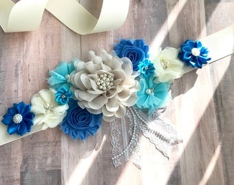 Blue, Cream and  Turquoise Maternity Blue Baby Boy Pregnancy Sash Gender Reveal Party Gift Photo Prop Gift Baby Shower