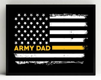 Army Dad Art Print, Proud Dad, Military Wall Art, US Flag, Decor