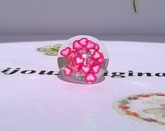 "Adjustable ring resin round shaped ""pink and white heart"" :)"
