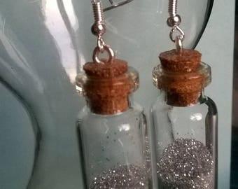 Large glass bottle Earrings