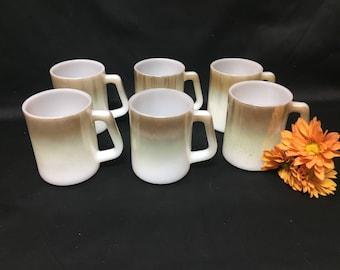 Federal Glass Mesa Green Moss Brown Milk Glass Coffee Mugs - set of 6
