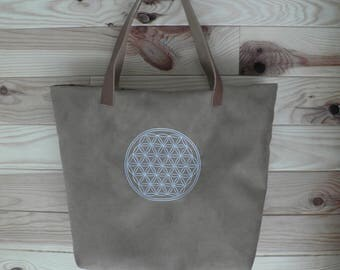 Flower of life embroidered leatherette tote bag