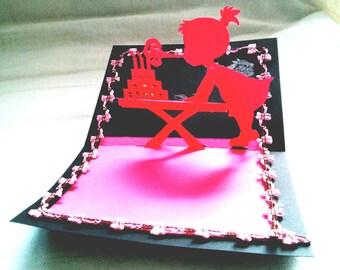 Kirigami for little girls birthday card