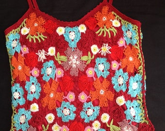 VINTAGE circa 80 crocheted with cotton TOP