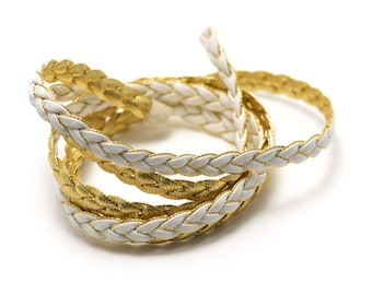 1 m cord strap braided 7 x 2 mm, faux leather, white/gold