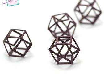 """4 """"octagonal 3D"""" /perles connectors 20 x 20 mm, Burgundy"""