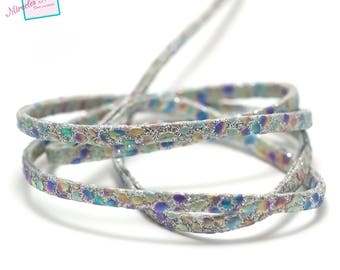 """1 m strap leather 5 x 2 mm, doubled """"Opal"""", silver"""