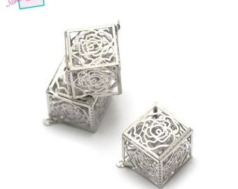"pendants 1 ""Crystal cube filigree cage"" 13 x 13 mm"