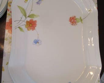 """Mikasa Just Flowers Large Serving platter / tray (14 3/4"""")"""