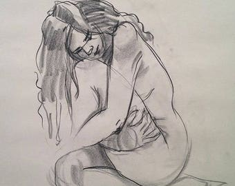 Figure study 5.5. Original Fine art Charcoal drawing for home decoration. Gesture sketch of female figure.
