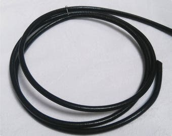 Genuine 4 mm black leather cord