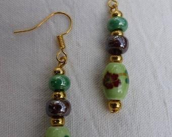 Painted ceramic beads earrings