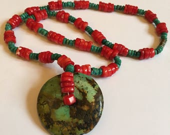 Green and red beaded necklace