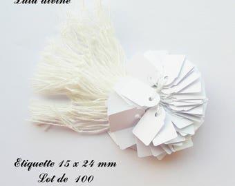 100 white cotton thread labels / price label: 15 x 24 mm