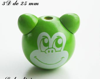 25 mm wooden bead, Pearl 3D monkey: Green