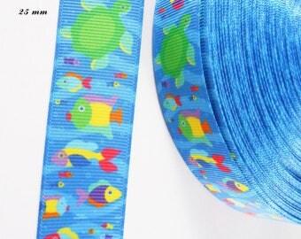 Grosgrain Ribbon background ocean fish multicolor 25 mm sold by 50 cm