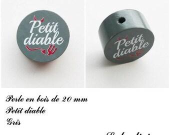 20 mm wooden bead, Pearl flat, little devil: gray