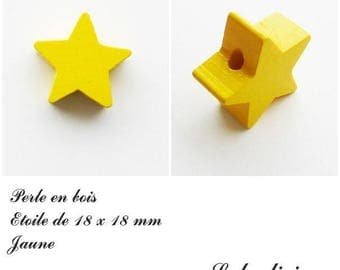 18 x 18 mm wooden bead, bead flat Star: yellow