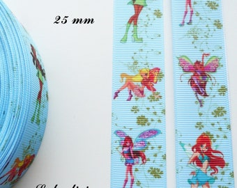 Winx Club of 25 mm light blue grosgrain Ribbon sold by 50 cm