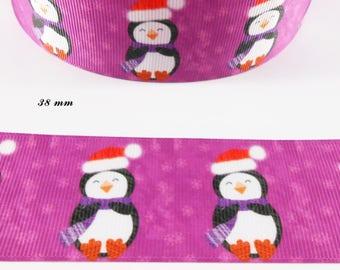 Ribbon grosgrain purple Penguin with a 38 mm Santa hat sold by 50 cm