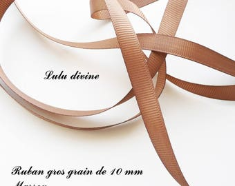 Ribbon 10 mm, sold in 2 meters grosgrain: Brown