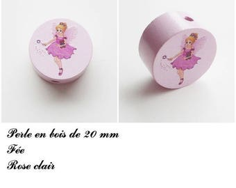 20 mm wooden bead, Pearl flat fairy: light pink