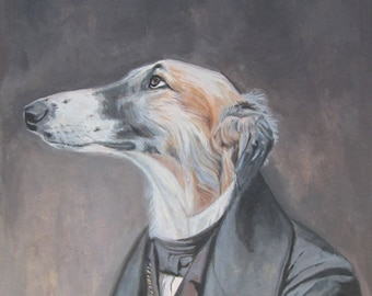 Portrait animal Greyhound humanized suit acrylic paint