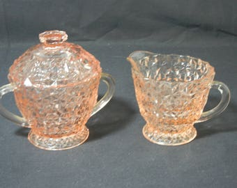 Holiday Footed Creamer and Sugar Set by Jeannette Glass