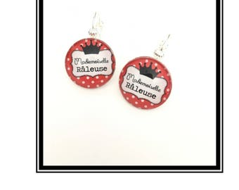 "Earrings & single ""Miss complainer"" personalized, derision, heart, bow, red, black, Crown, humor"