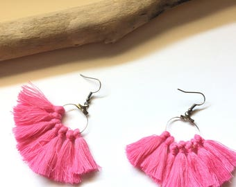 Earrings tassel earrings Pink Silver tassel pom pom pom pom crochet black earrings