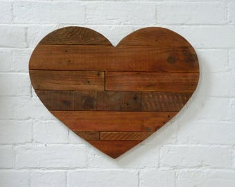 Rustic Heart Wall Art, Shabby Chic Heart, Rustic Heart, Heart Wall Art, Reclaimed Wood Heart, Pallet wood Heart with a hint of Red