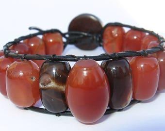 Carnelian oval beads wrap bracelet